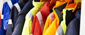 Work wear jackets on display in a shop