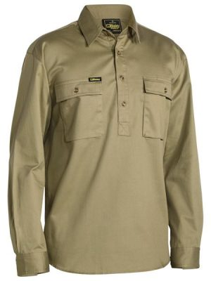 Bisley Close Front L/sl Cot Shirt Khaki Bsc6433