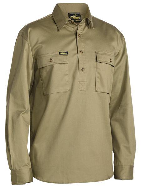Bisley Close Front L/sl Cot Shirt Khaki Bsc6433