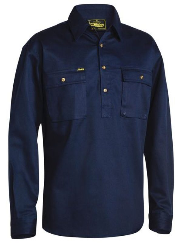 Bisley Close Front L/sl Cot Shirt Navy Bsc6433