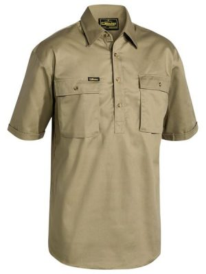 Bisley Close Front S/sl Cot Shirt Khaki Bsc1433