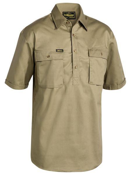 Bisley Close Front S/sl Cot Shirt Khaki Bsc1433