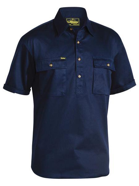 Bisley Close Front S/sl Cot Shirt Navy Bsc1433