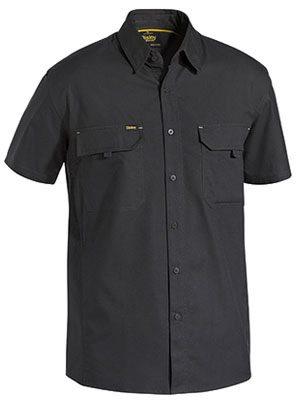Bisley Shortsleeve Ripstop Shirt Black Bs1414
