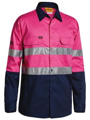 Bisley Taped L/s L/w Shirt Pink Bs6896
