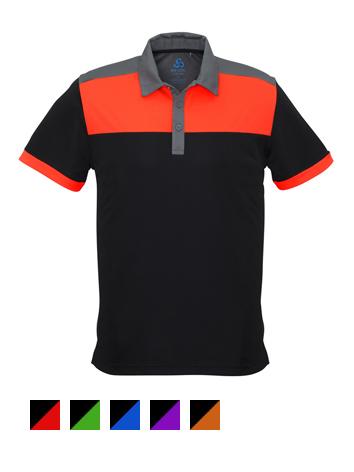 Fashion Biz Charger Polo - Black and Fluro Orange