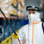 worker with ppe for chemical protection