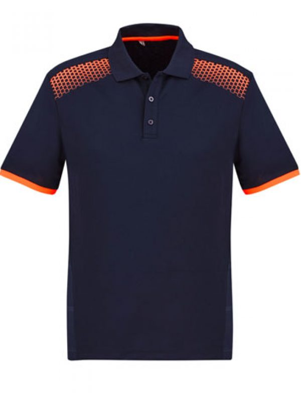 Fashion Biz Galaxy Polo Navy Blue and Fluro Orange
