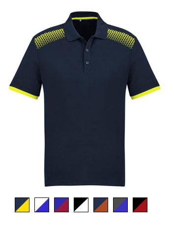 Fashion Biz Galaxy Polo Navy and Fluro Yellow
