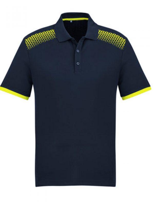 Fashion Biz Galaxy Polo Navy Blue and Fluro Yellow