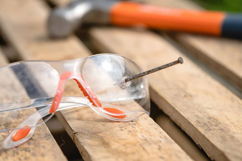 safety glasses with nail accident